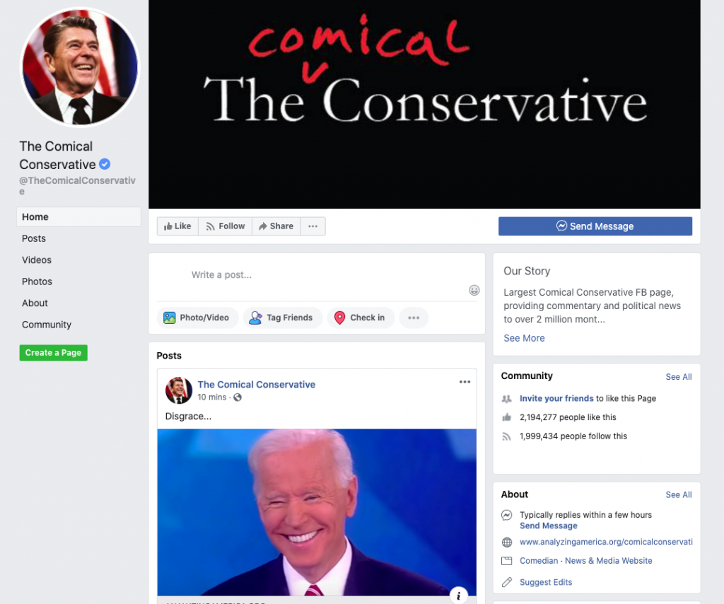 Image of The Comical Conservative's Facebook page
