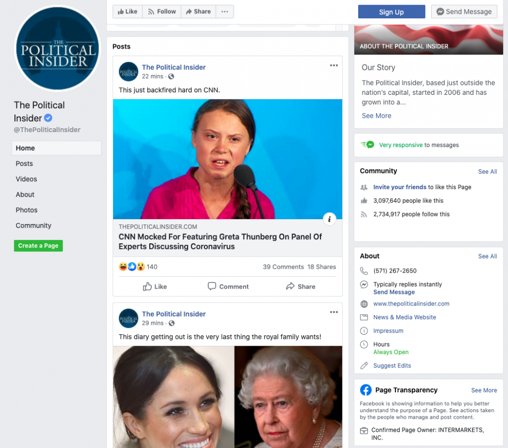 Image of The Political Insider's Facebook Page