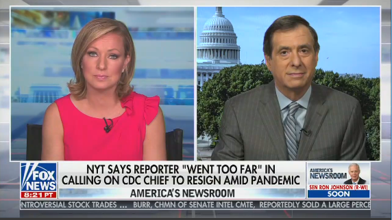 "Anchor Sandra Smith and Mediabuzz host Howard Kurtz with a chyron reading ""NYT says reporter 'went too far' in calling on CDC chief to resign amid pandemic"""