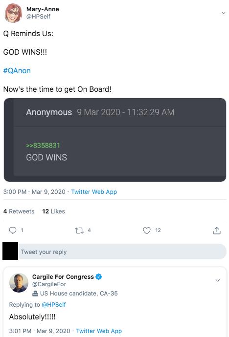 Mike Cargile QAnon tweet