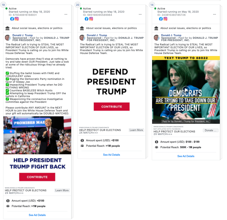 Image of 3 facebook ads from Donald Trump