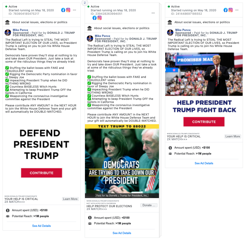 Image of 3 facebook ads from Mike Pence
