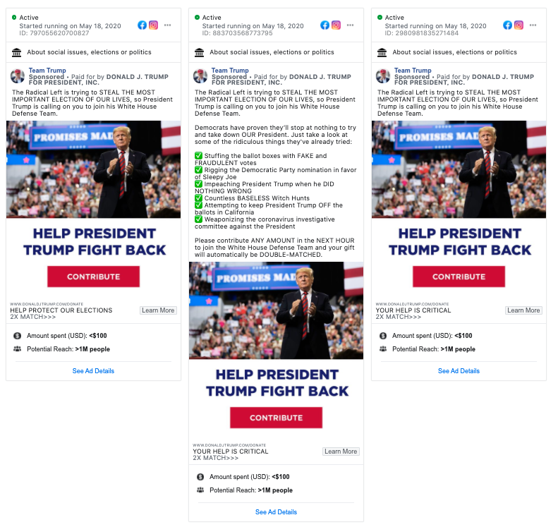 Image of three ads on facebook from Team Trump