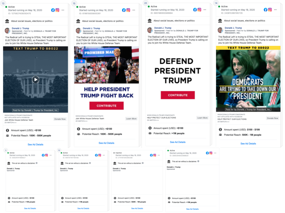 Image of facebook ads from Donald Trump