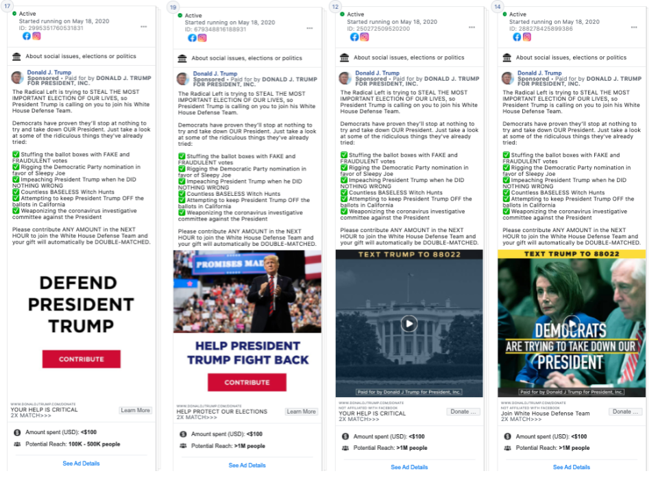 Image of 4 facebook ads from Donald Trump