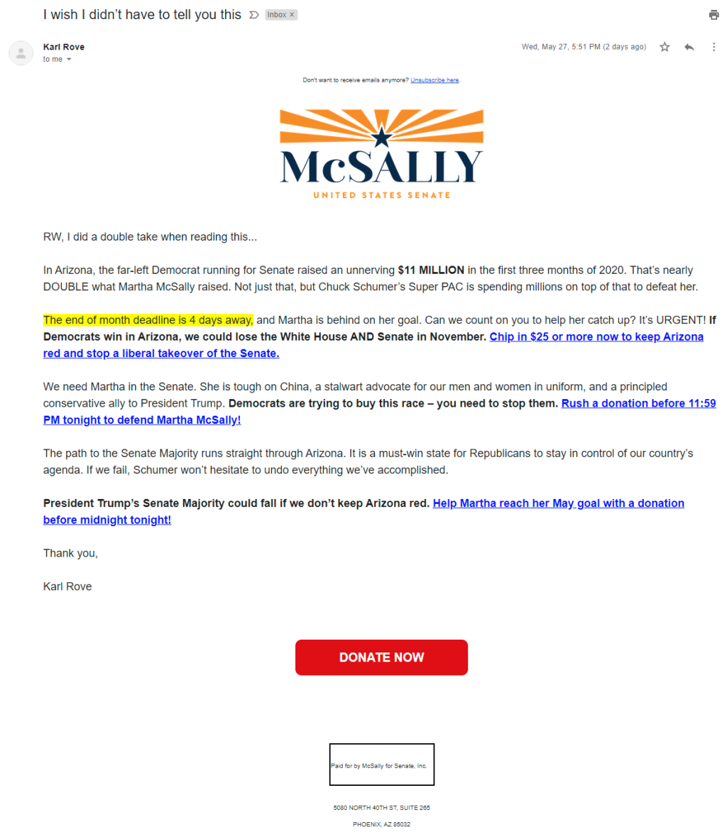 Karl Rove's email for Martha McSally
