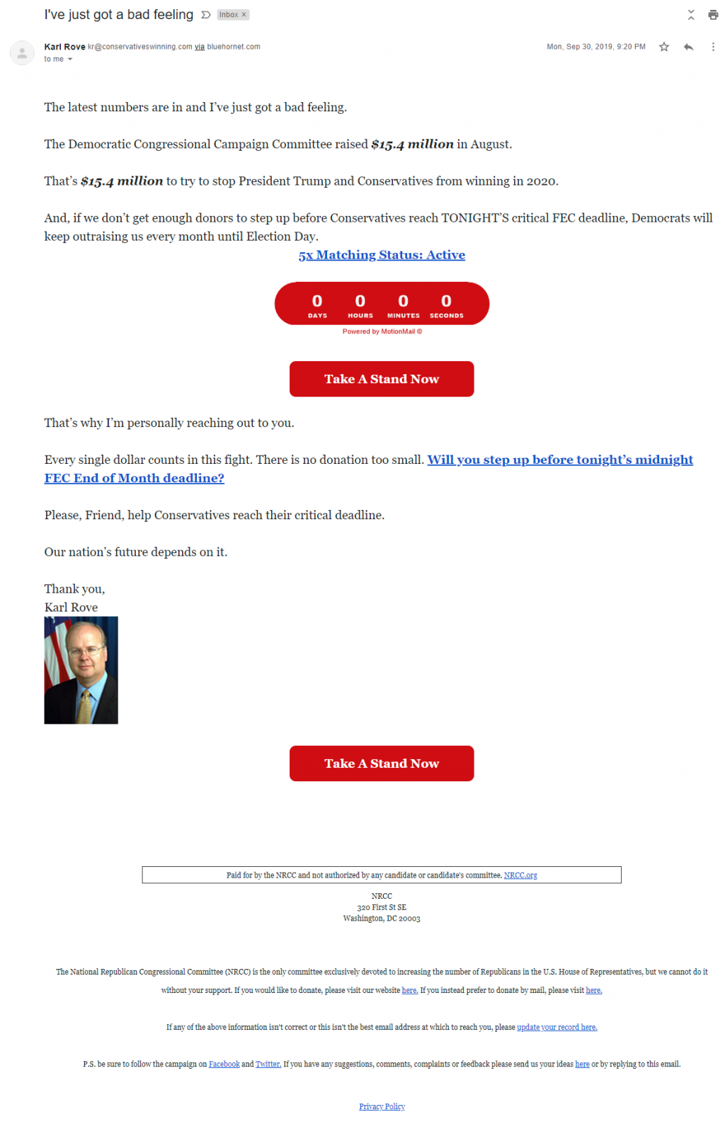 Karl Rove's email for the National Republican Congressional Committee