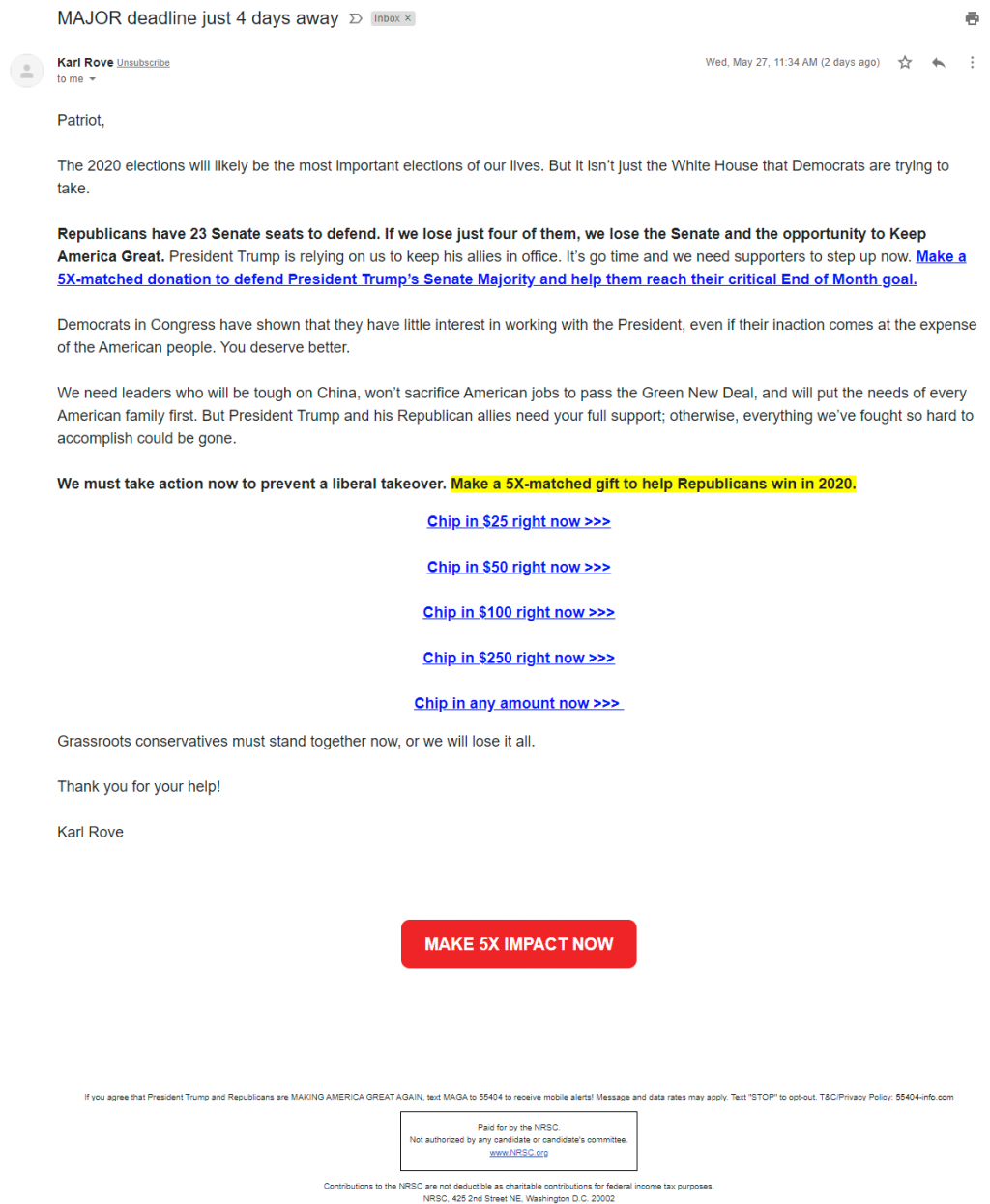 Karl Rove's email for the National Republican Senatorial Committee