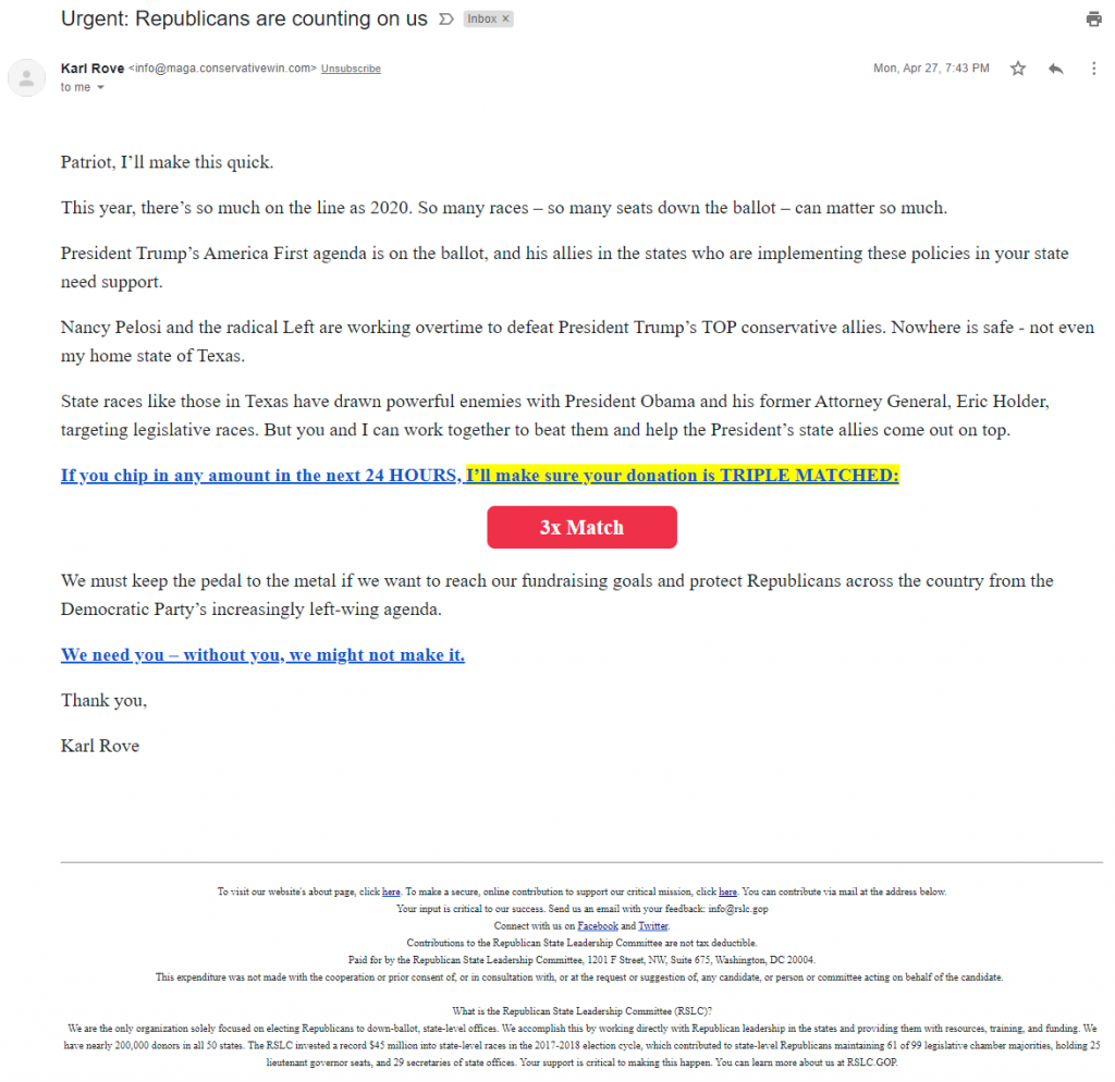Karl Rove's email for the Republican State Leadership Committee