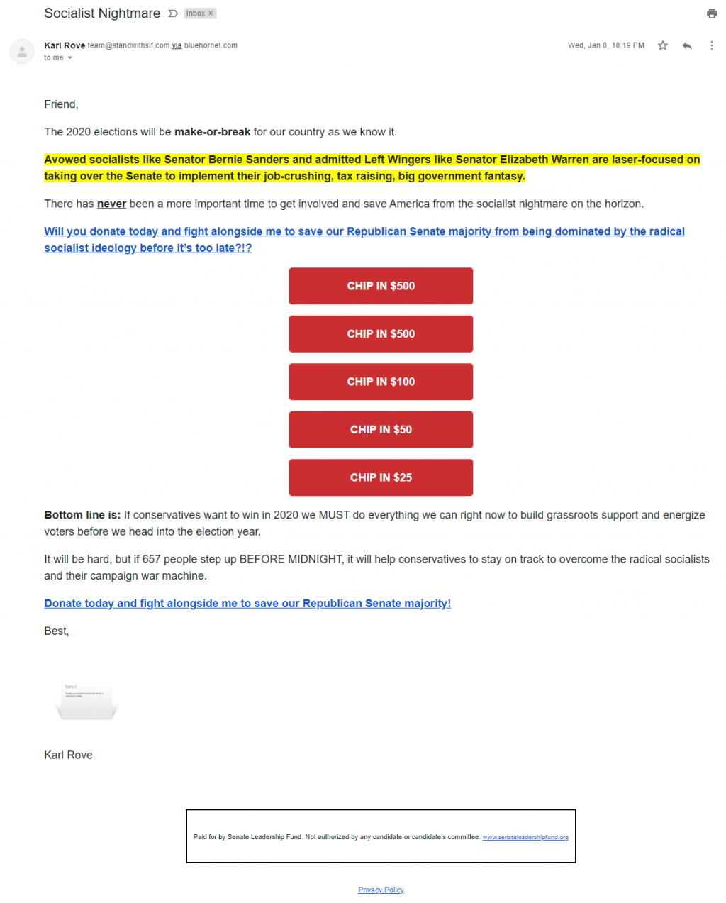 Karl Rove's email for the Senate Leadership Fund