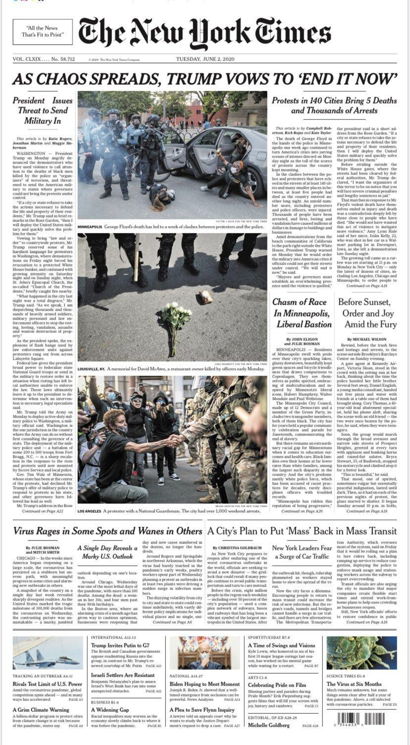 NYT front page 6/2/20