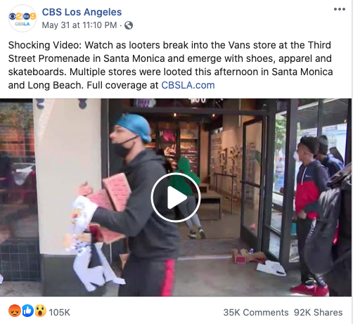 CBS Los Angeles' Facebook post on May 31, 2020