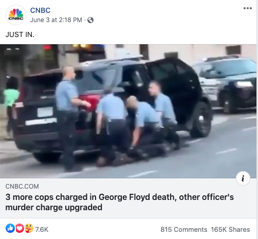 CNBC's Facebook post on June 3, 2020