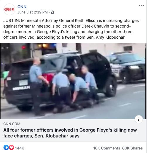 CNN's Facebook post on June 3, 2020