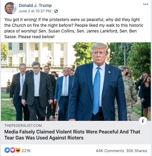Trump's Facebook post on June 2, 2020