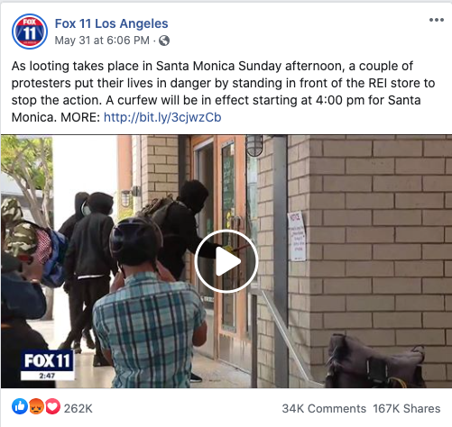 Fox 11 Los Angeles' Facebook post on May 31, 2020