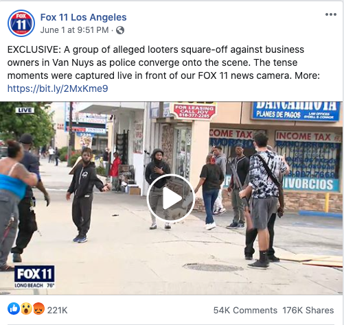 Fox 11 Los Angeles' Facebook post on June 1, 2020