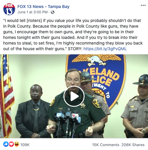 Fox 13 News' Facebook post on June 1, 2020
