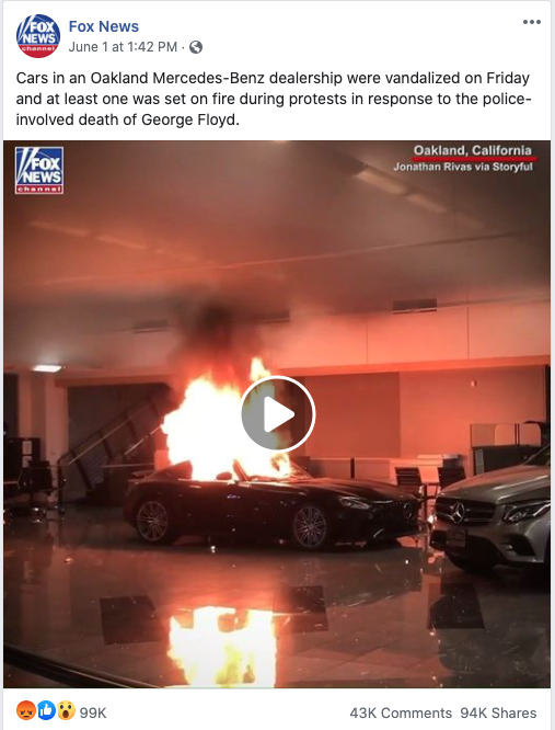 Fox News' Facebook post on June 1, 2020