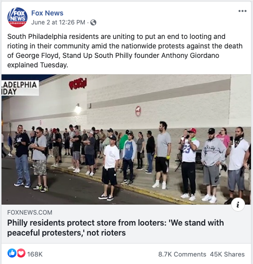 Fox News' Facebook post on June 2, 2020