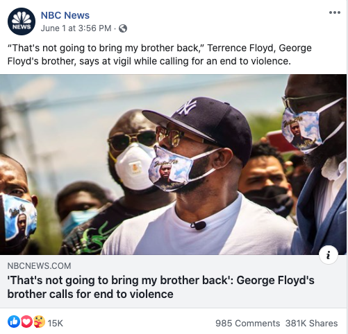 NBC News' Facebook post on June 1, 2020