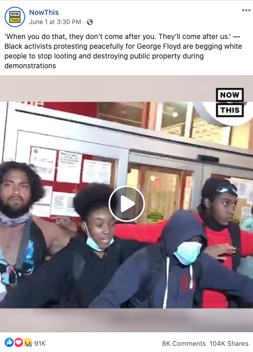NowThis' Facebook post on June 1, 2020