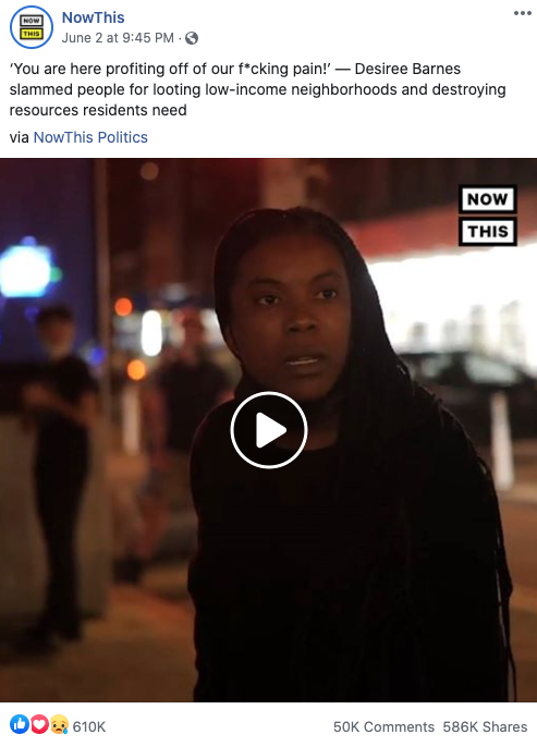 NowThis' Facebook post on June 2, 2020