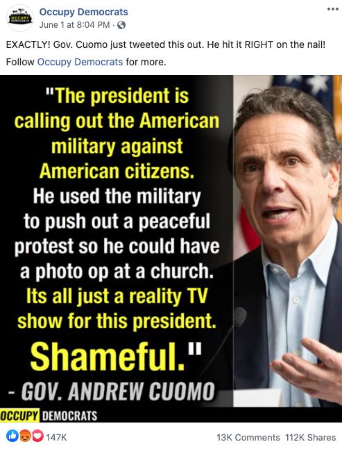Occupy Democrats' Facebook post on June 1, 2020