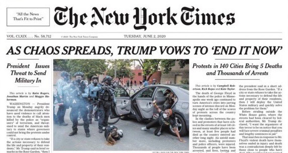 "The New York Times: As Chaos Spreads, Trump Vows to ""End It Now"""