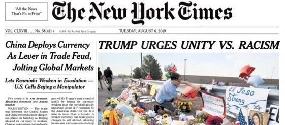 The New York Times: Trump Urges Unity Vs. Racism