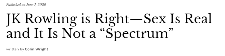 """JK Rowling is Right—Sex Is Real and It Is Not a """"Spectrum"""""""