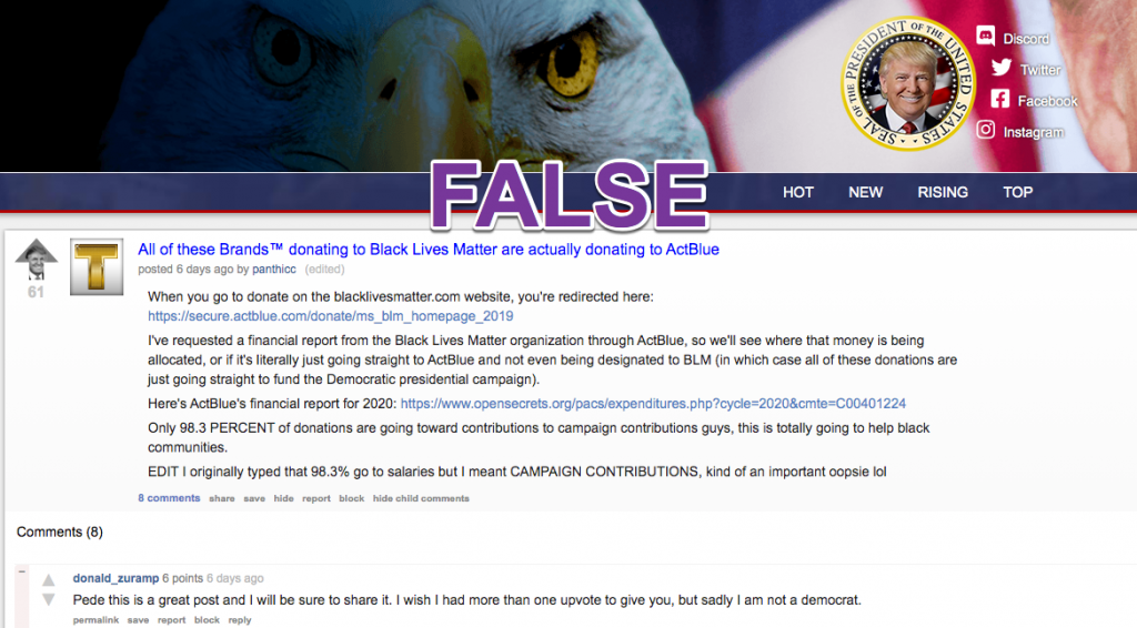 The Donald subreddit forum ActBlue1