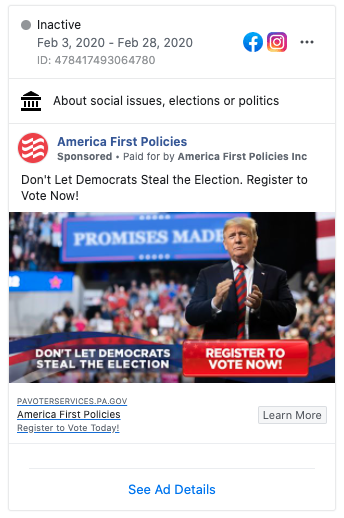 Image of America First Policies' Facebook ad from 20200203