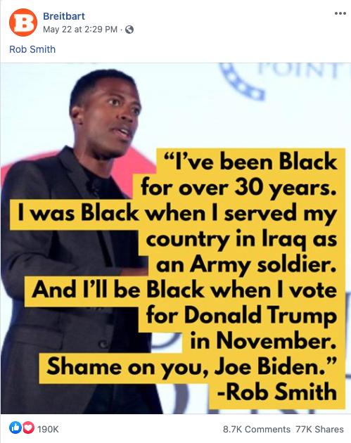 Image of Breitbart's Facebook post from 20200522 praising Trump