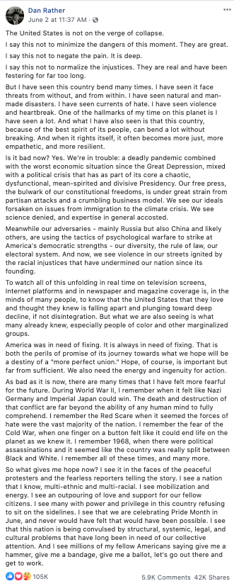 Image of Dan Rather's Facebook post from 20200602