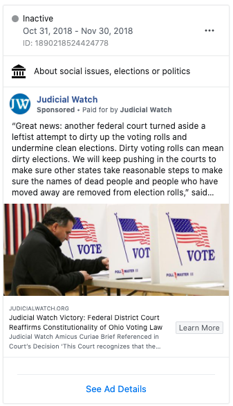 Image of Judicial Watch's Facebook ad from 20181031