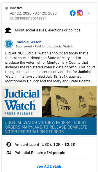 Image of Judicial Watch's Facebook ad from 20200422