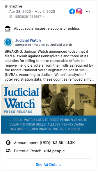 Image of Judicial Watch's Facebook ad from 20200428