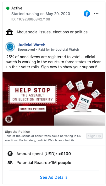 Image of Judicial Watch's Facebook ad from 20200520
