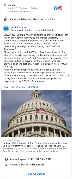 Image of Judicial Watch's Facebook ad from 20200604
