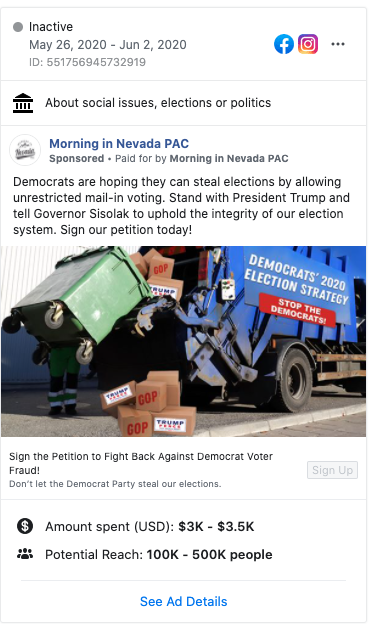 Image of Morning in Nevada PAC's Facebook ad from 20200526