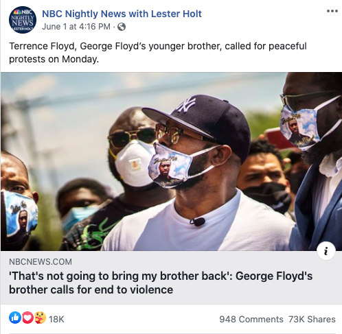 Image of NBC Nightly News' Facebook post from 20200601