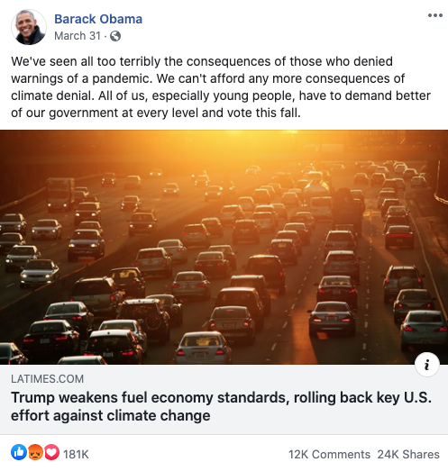 Image of Obama's Facebook post from 20200331