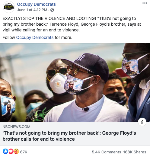 Image of Occupy Democrats' Facebook post from 20200601