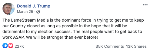 Image of Trump's Facebook post from 20200325