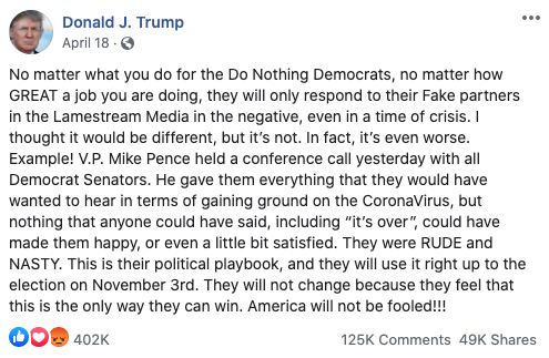 Image of Trump's Facebook post from 20200418