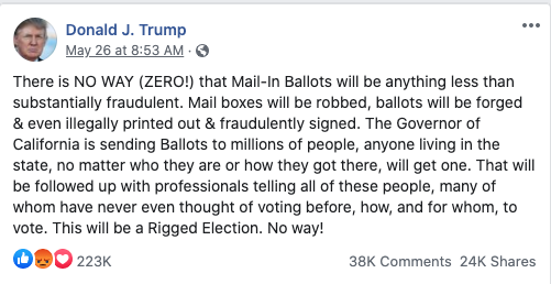 Image of Trump's post from 20200526 about mail-in voting