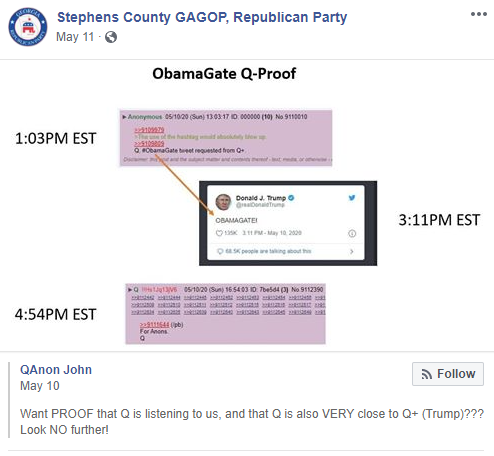 Stephens County Republican Party QAnon post 2