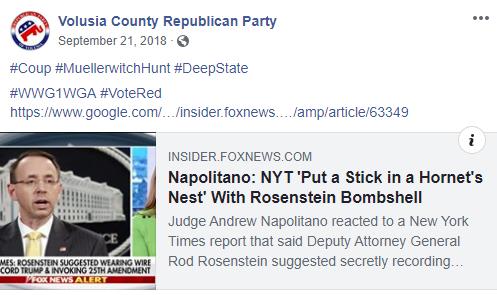 Volusia County Republican Party QAnon post