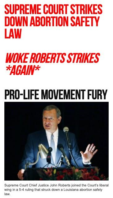 Breitbart home page SCOTUS abortion 6/29/20